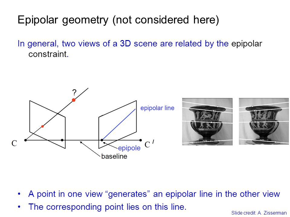 Epipolar geometry (not considered here)