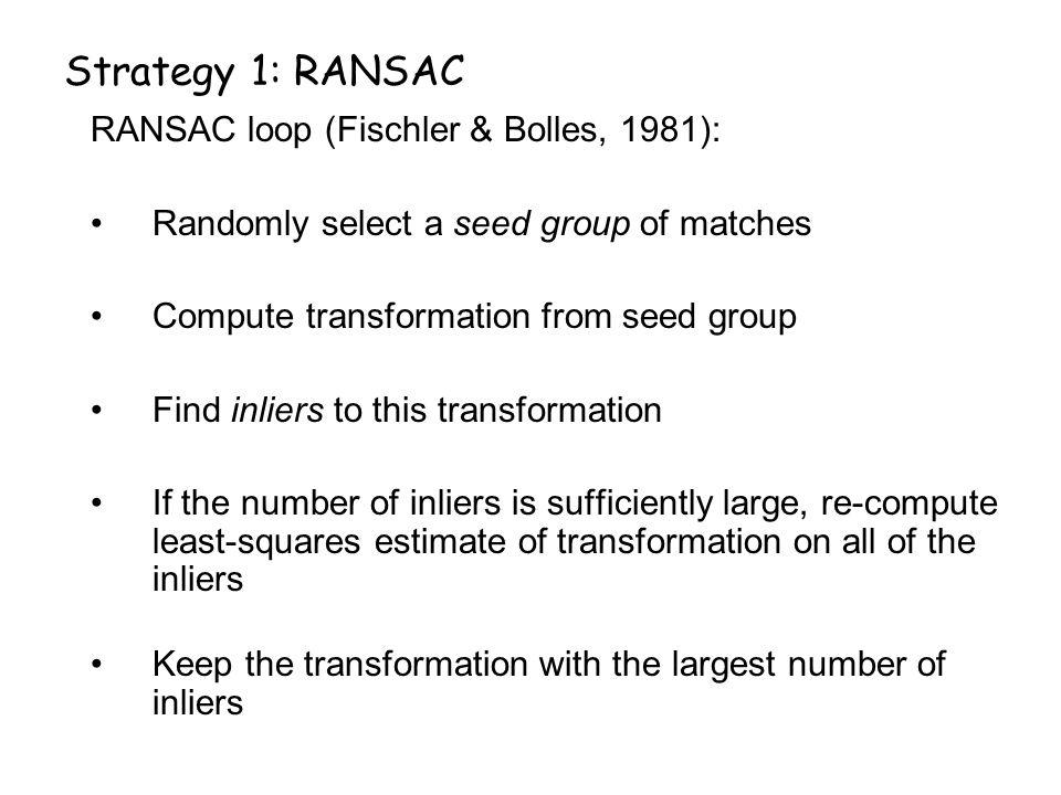 Strategy 1: RANSAC RANSAC loop (Fischler & Bolles, 1981):