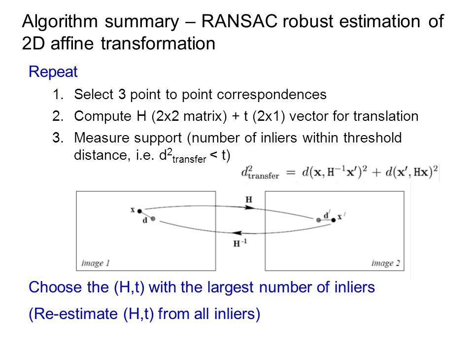 Algorithm summary – RANSAC robust estimation of 2D affine transformation