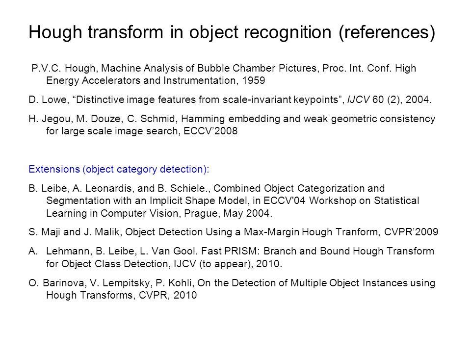 Hough transform in object recognition (references)