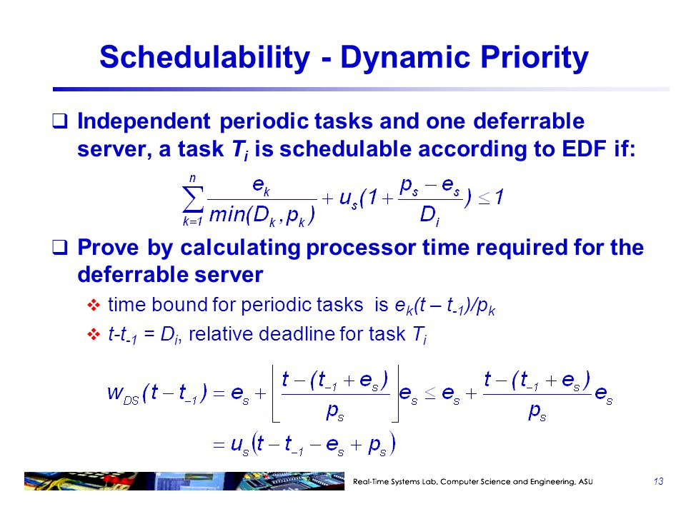 Schedulability - Dynamic Priority
