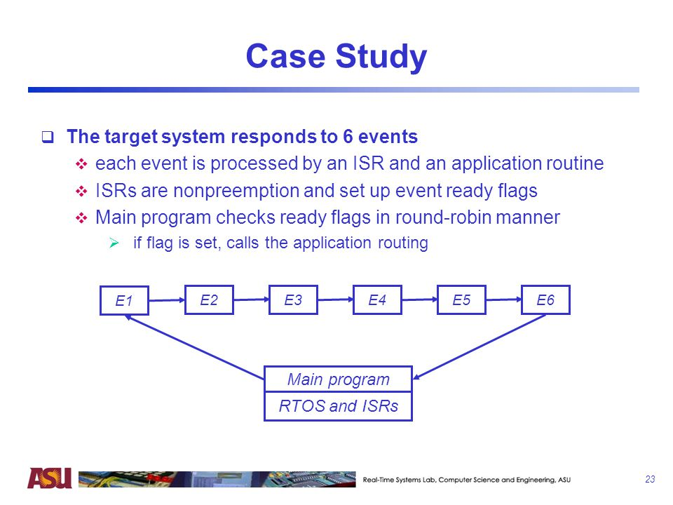 Case Study The target system responds to 6 events