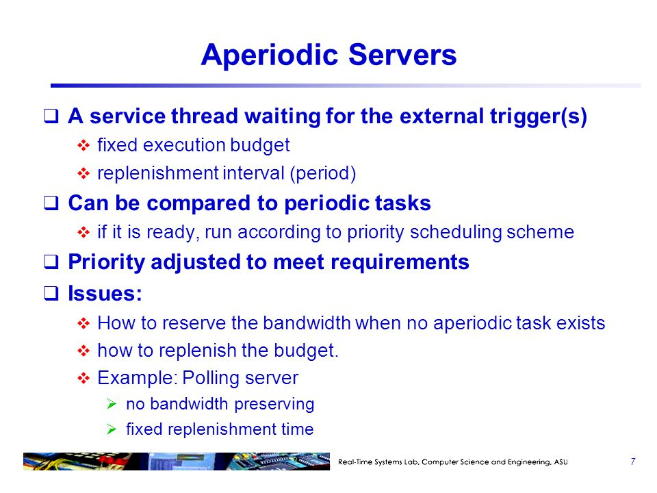 Aperiodic Servers A service thread waiting for the external trigger(s)