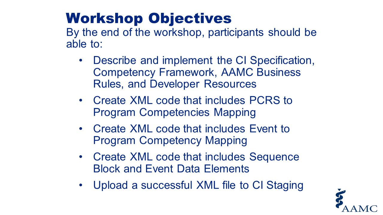 Workshop Objectives By the end of the workshop, participants should be able to: