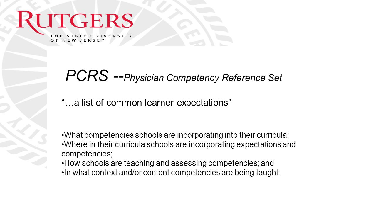 PCRS --Physician Competency Reference Set