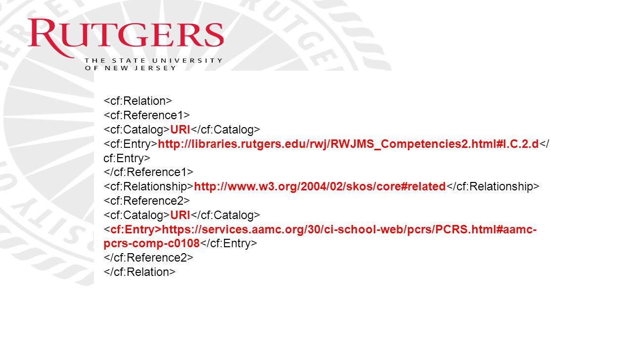 <cf:Relation> <cf:Reference1> <cf:Catalog>URI</cf:Catalog> <cf:Entry>http://libraries.rutgers.edu/rwj/RWJMS_Competencies2.html#I.C.2.d</cf:Entry>