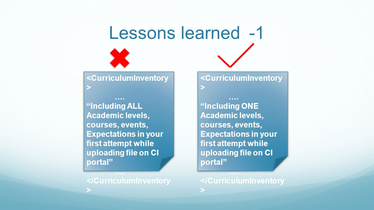 Lessons learned -1 <CurriculumInventory> ….