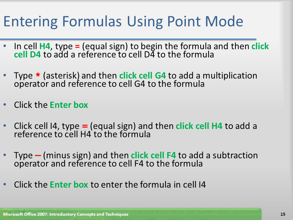 Entering Formulas Using Point Mode