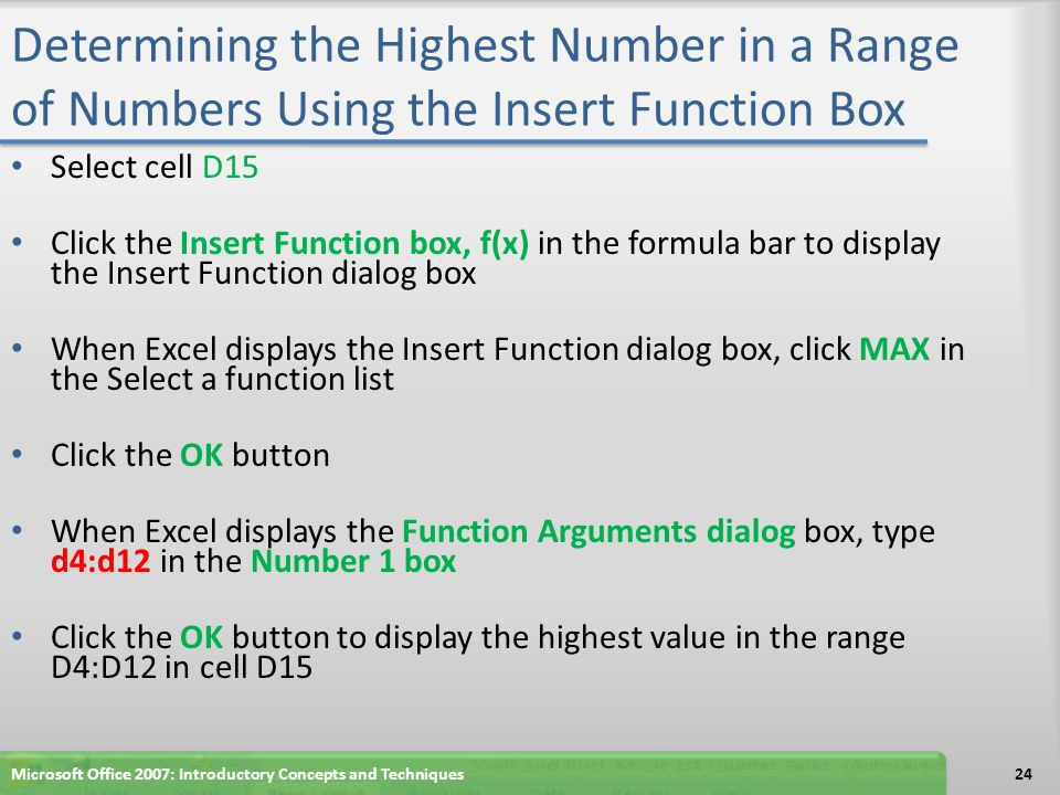 Determining the Highest Number in a Range of Numbers Using the Insert Function Box