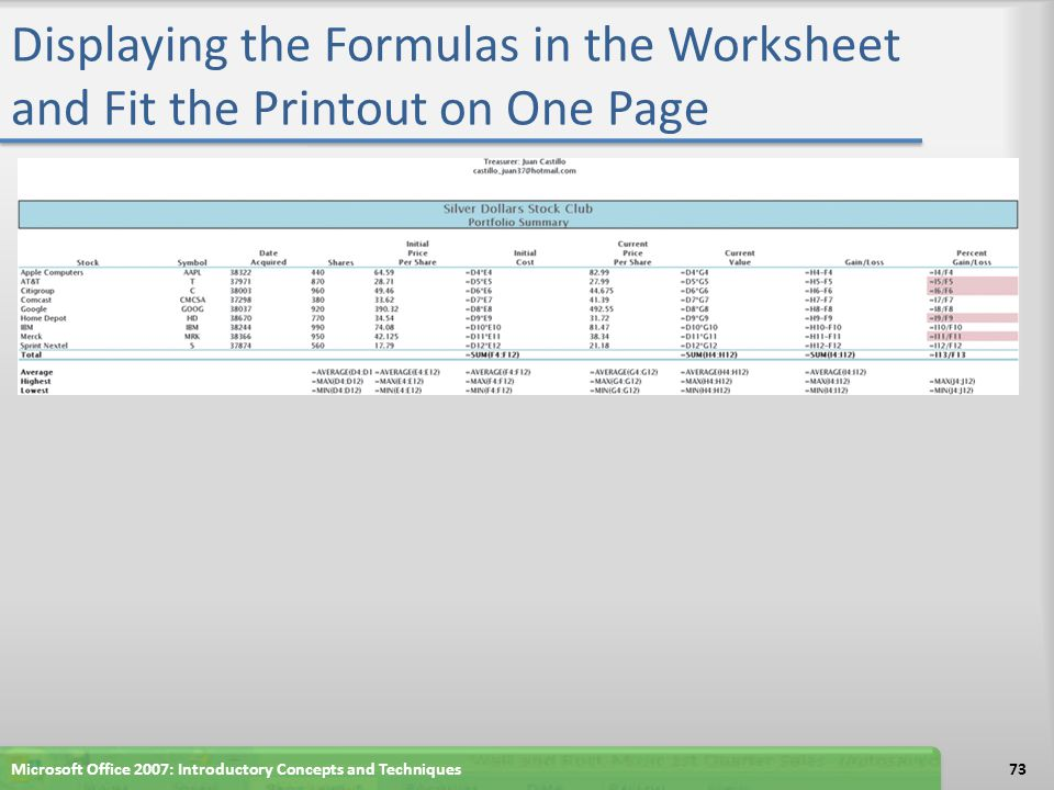 Displaying the Formulas in the Worksheet and Fit the Printout on One Page