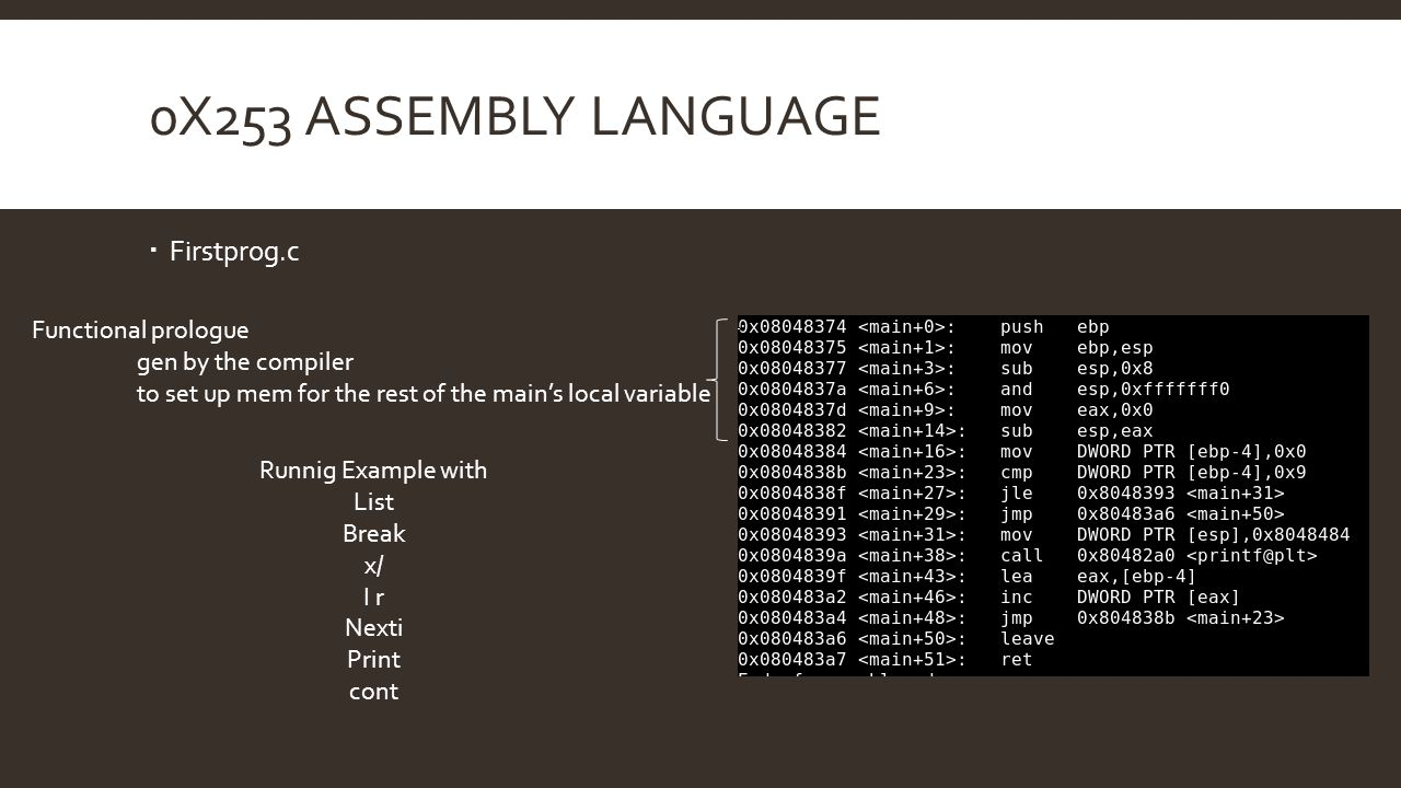 0x253 Assembly Language Firstprog.c Functional prologue