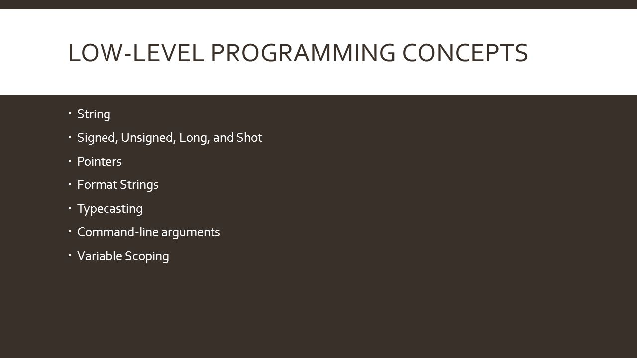 Low-level programming concepts