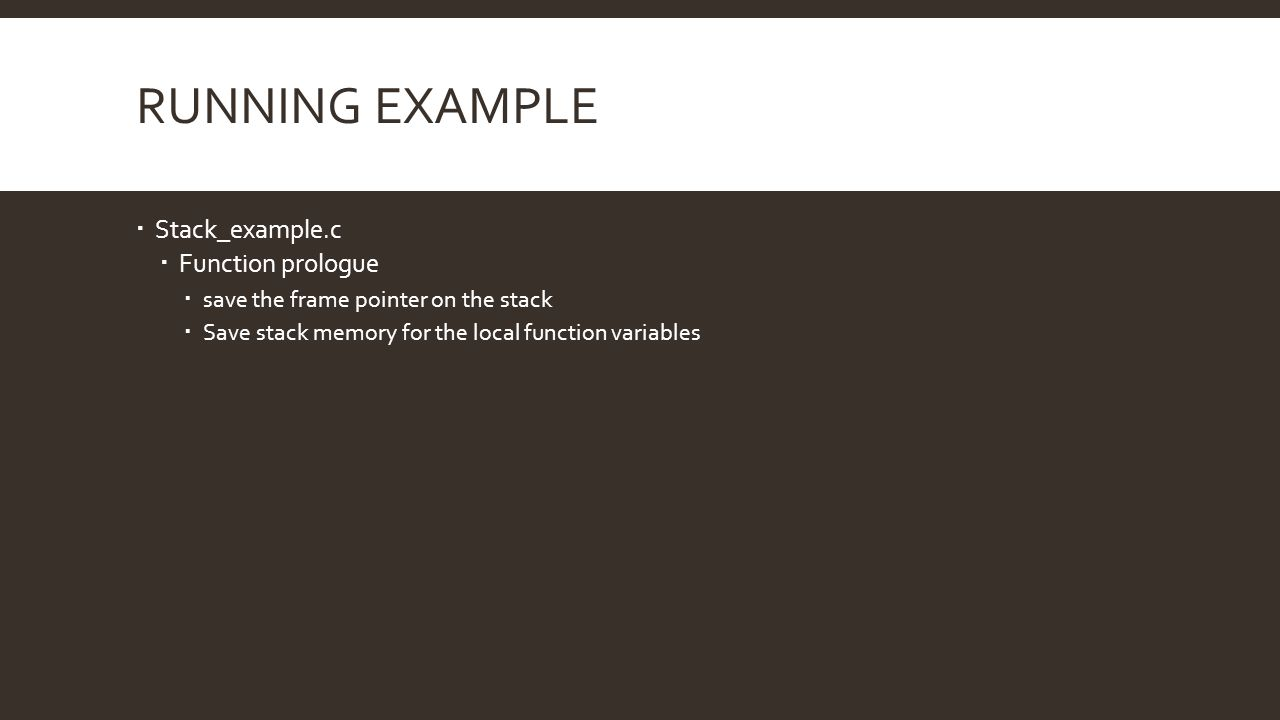 Running example Stack_example.c Function prologue