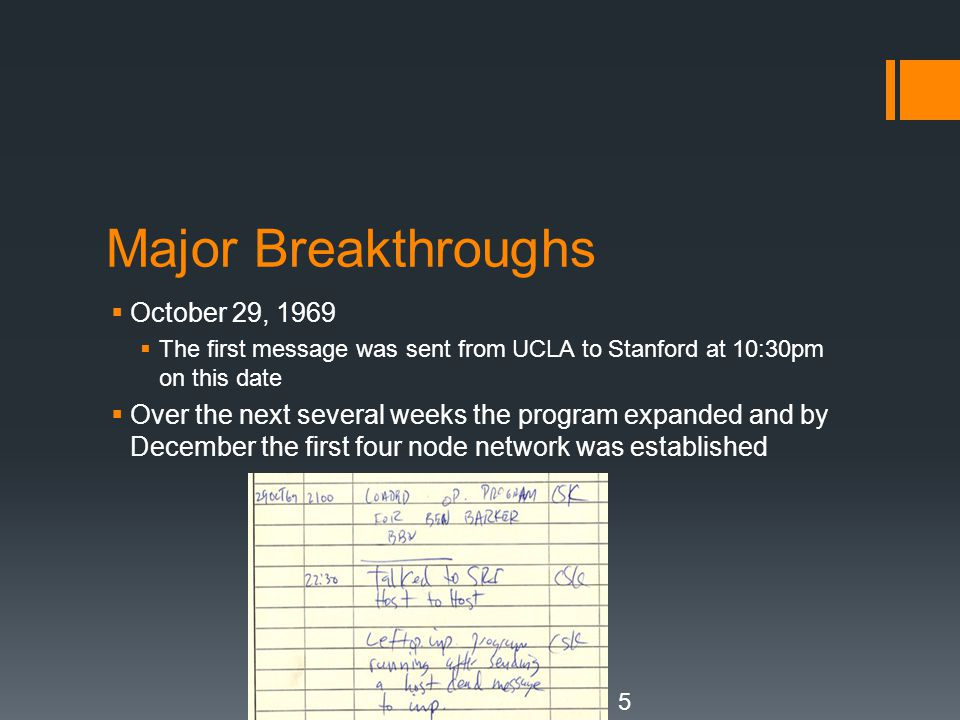Major Breakthroughs October 29, 1969
