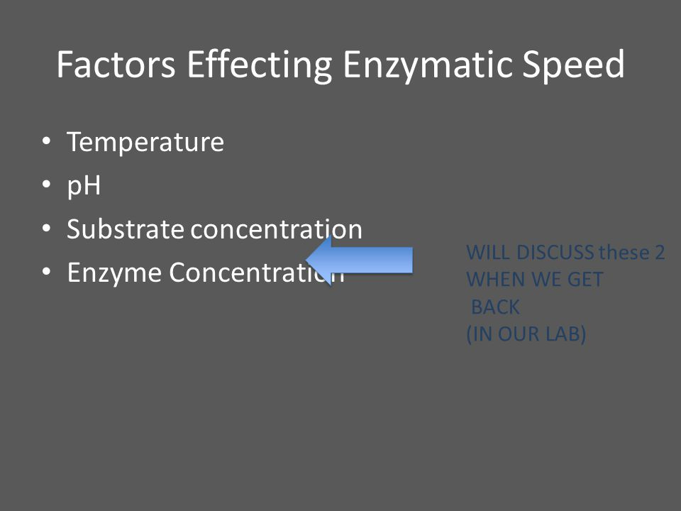 Factors Effecting Enzymatic Speed