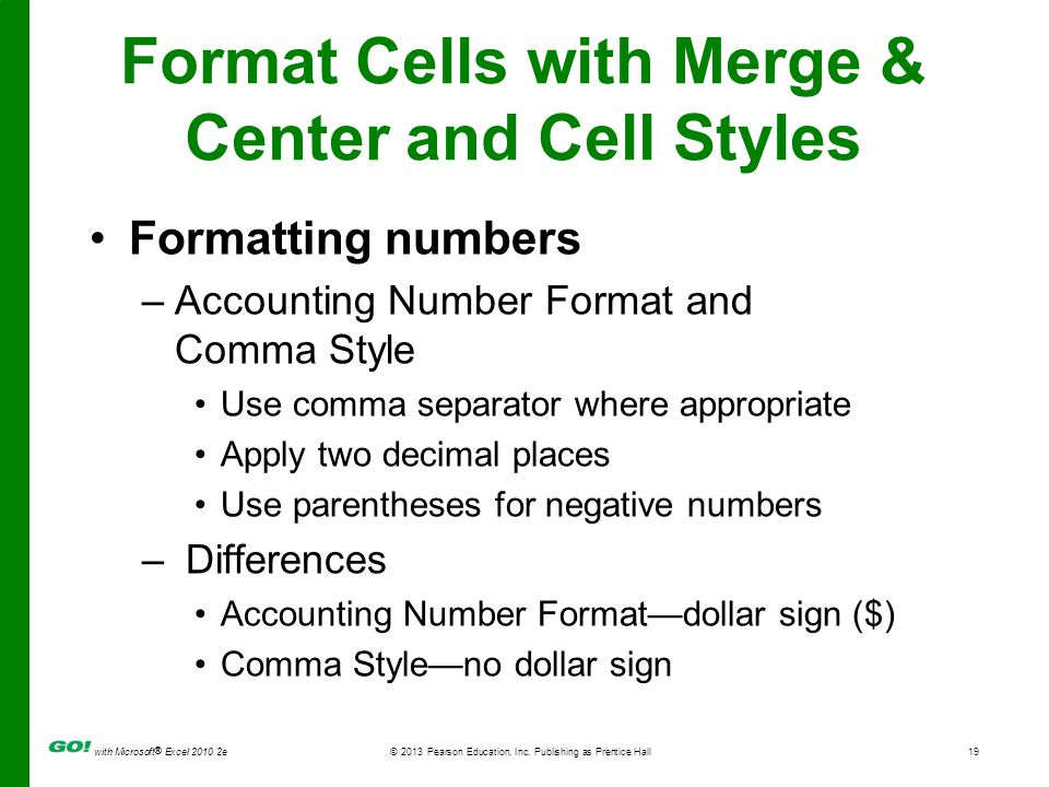 Format Cells with Merge & Center and Cell Styles