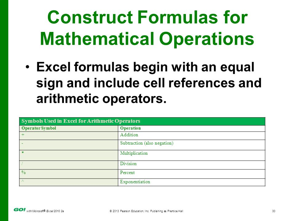 Construct Formulas for Mathematical Operations
