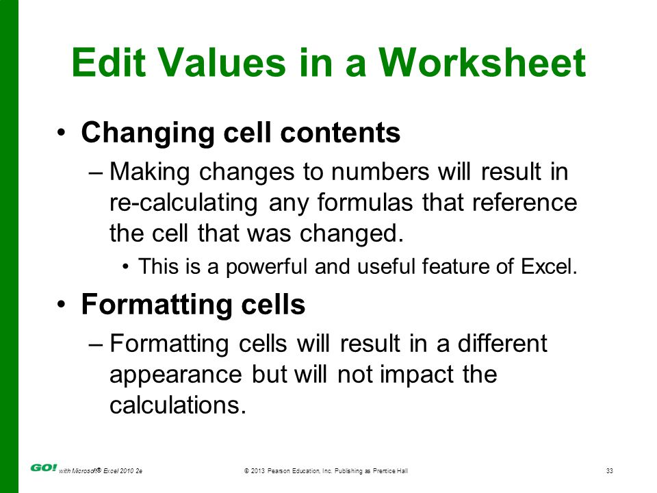Edit Values in a Worksheet