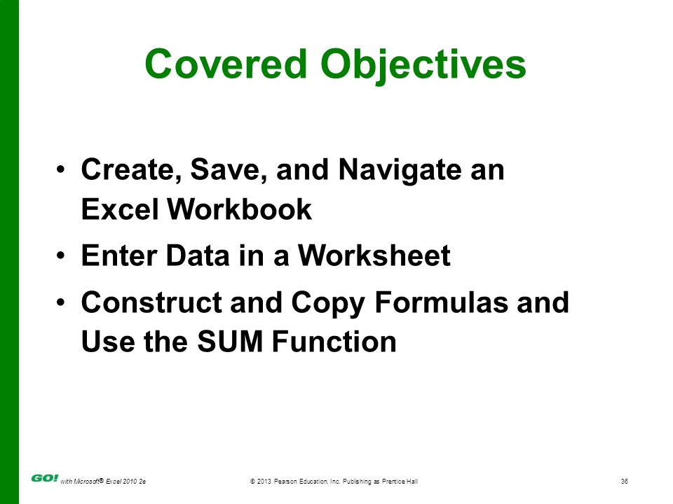 Covered Objectives Create, Save, and Navigate an Excel Workbook