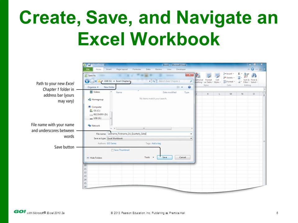 Create, Save, and Navigate an Excel Workbook