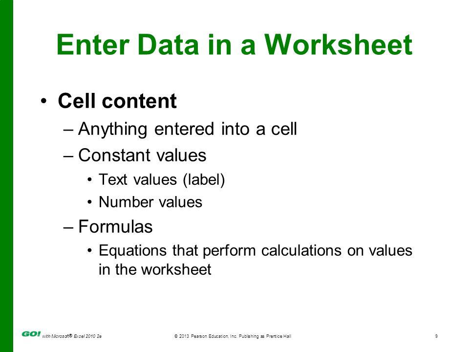 Enter Data in a Worksheet