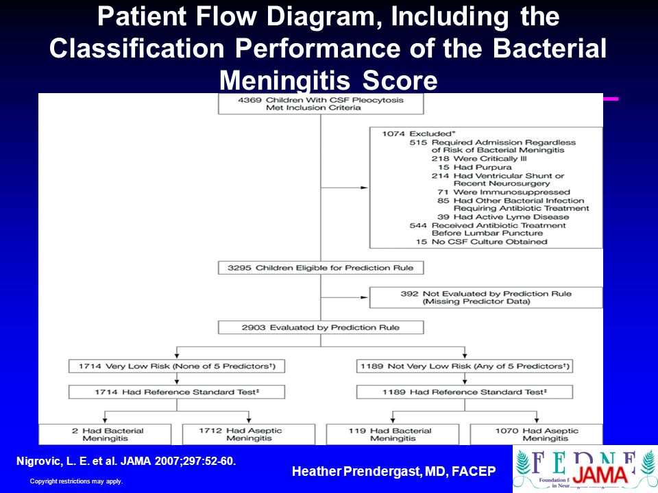 Patient Flow Diagram, Including the Classification Performance of the Bacterial Meningitis Score