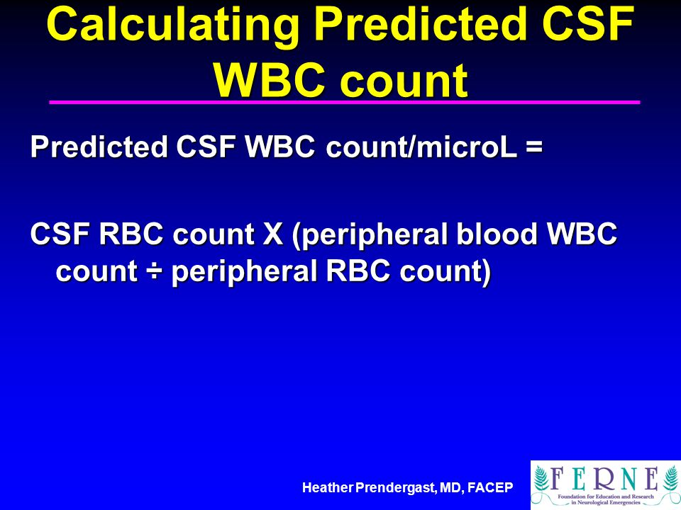 Calculating Predicted CSF WBC count