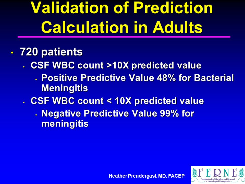 Validation of Prediction Calculation in Adults