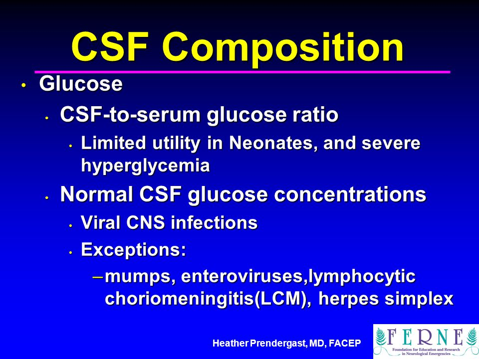 CSF Composition Glucose CSF-to-serum glucose ratio