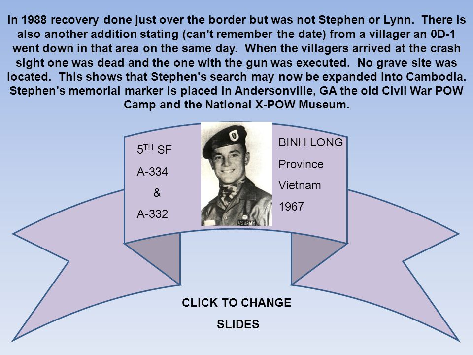 In 1988 recovery done just over the border but was not Stephen or Lynn