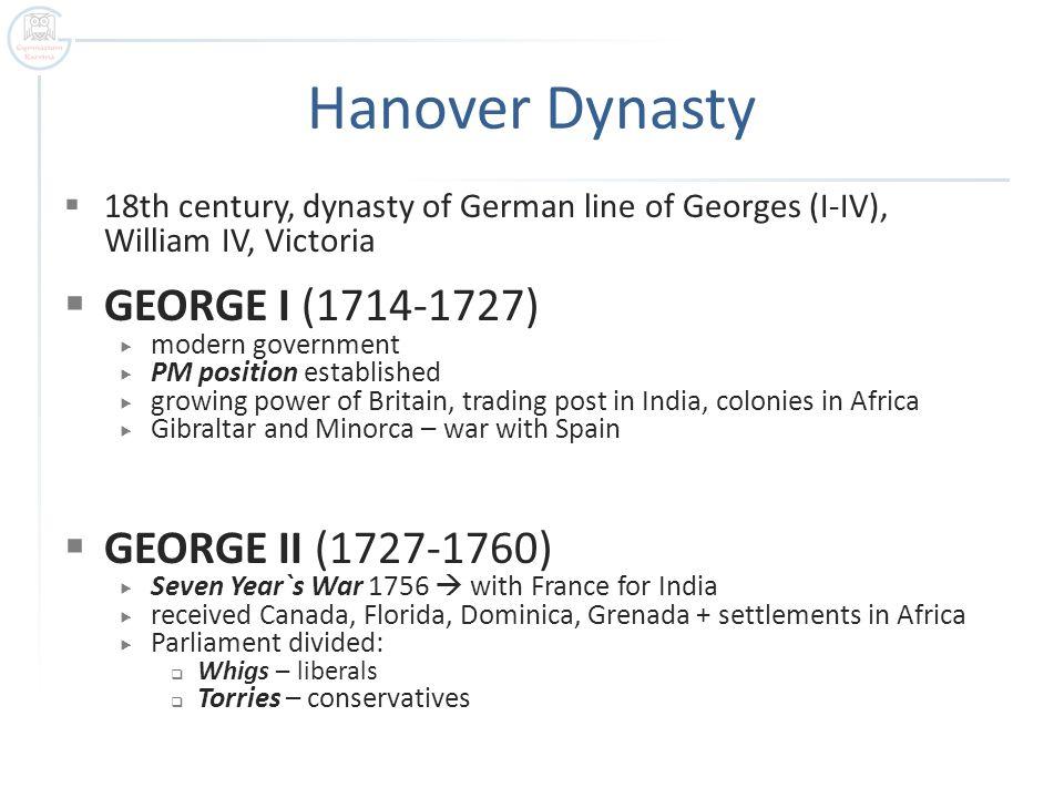 Hanover Dynasty GEORGE I (1714-1727) GEORGE II (1727-1760)