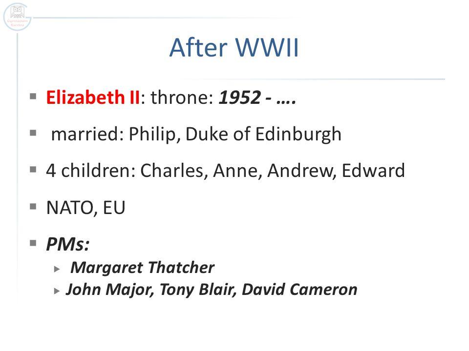 After WWII Elizabeth II: throne: 1952 - ….
