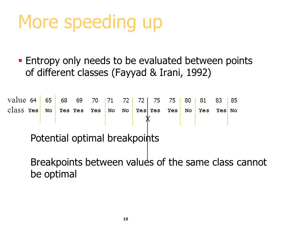 More speeding up Entropy only needs to be evaluated between points of different classes (Fayyad & Irani, 1992)