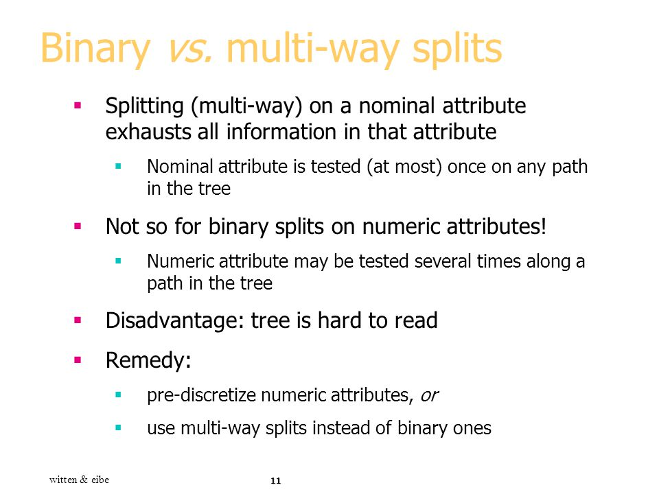 Binary vs. multi-way splits