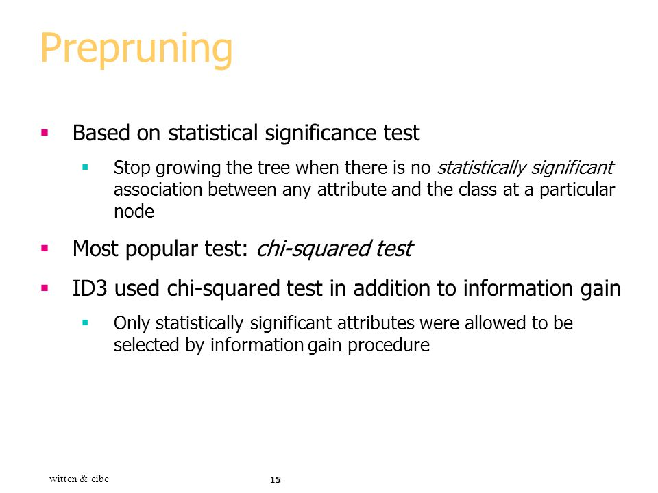 Prepruning Based on statistical significance test