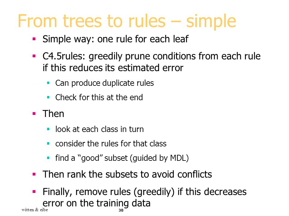 From trees to rules – simple