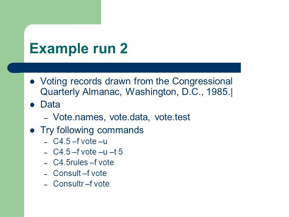 Example run 2 Voting records drawn from the Congressional Quarterly Almanac, Washington, D.C., 1985.|