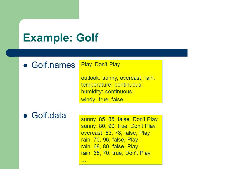 Example: Golf Golf.names Golf.data Play, Don t Play.