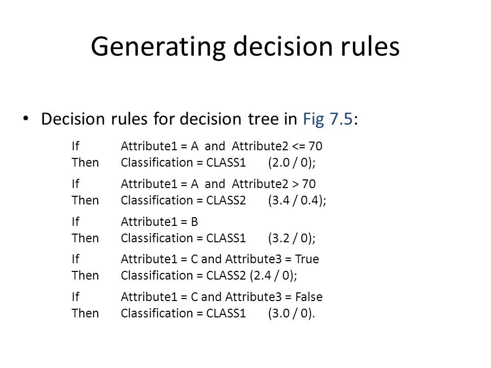 Generating decision rules