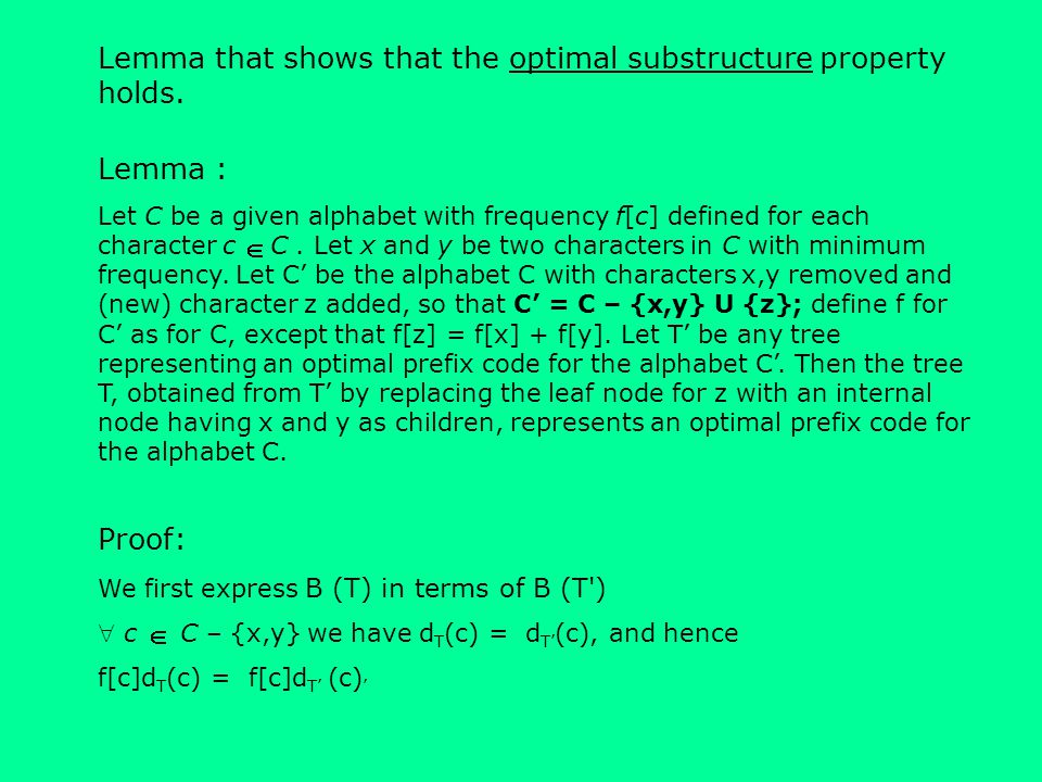 Lemma that shows that the optimal substructure property holds.