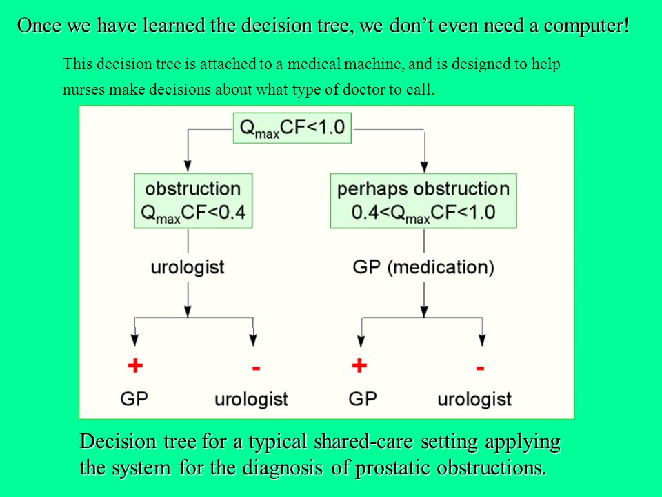 Once we have learned the decision tree, we don't even need a computer!
