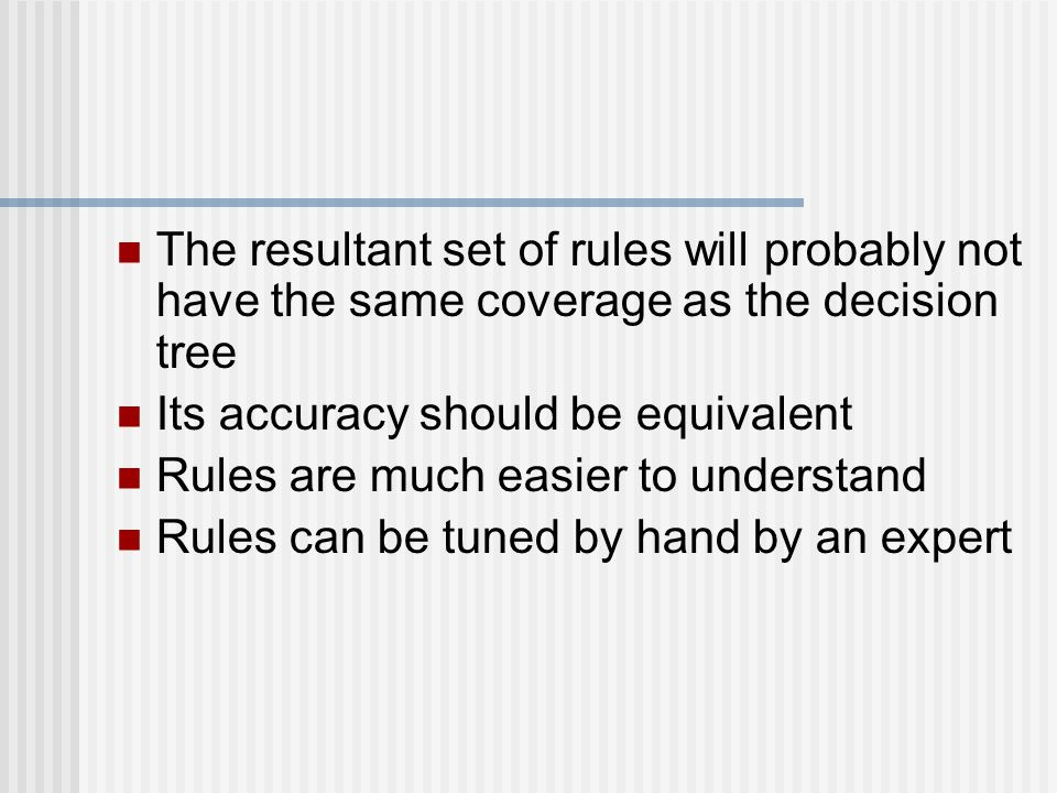The resultant set of rules will probably not have the same coverage as the decision tree