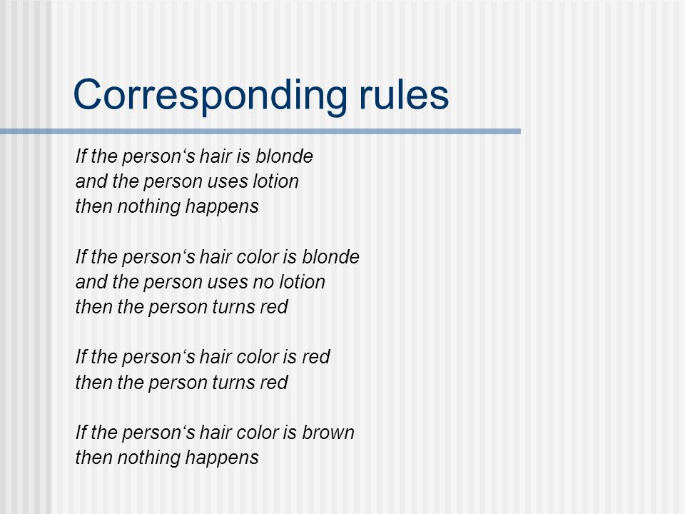 Corresponding rules If the person's hair is blonde