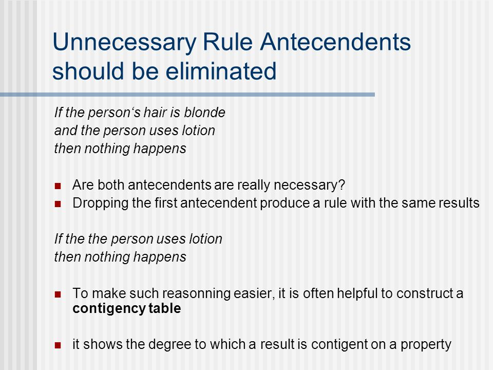 Unnecessary Rule Antecendents should be eliminated