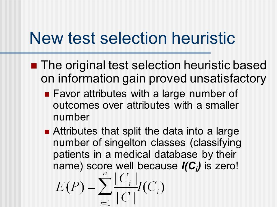 New test selection heuristic