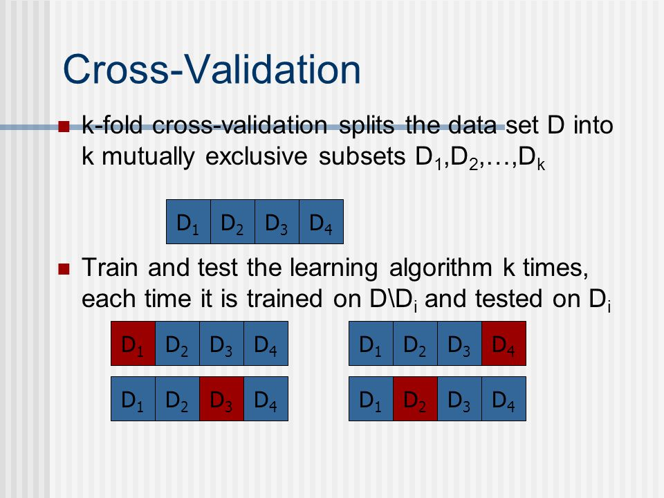 Cross-Validation k-fold cross-validation splits the data set D into k mutually exclusive subsets D1,D2,…,Dk.