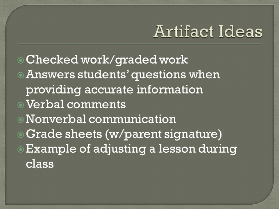 Artifact Ideas Checked work/graded work