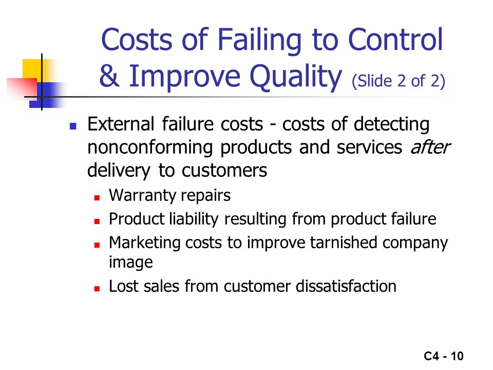 Costs of Failing to Control & Improve Quality (Slide 2 of 2)