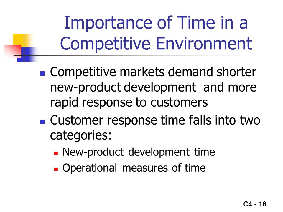 Importance of Time in a Competitive Environment
