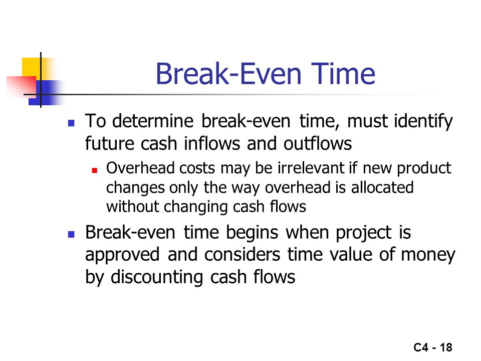 Break-Even Time To determine break-even time, must identify future cash inflows and outflows.
